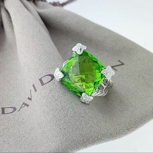 David Yurman 15mm Peridot cushion on point ring
